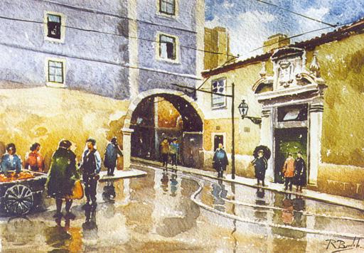 Arco Marquês do Alegrete. Pintura de Mestre Real Bordalo.